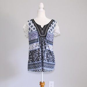 Energe Blue Patterned Top  White Lace Sleeves L